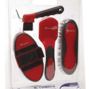 4 piece Grooming Kit Red Black